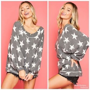 KFab Designs Tops - Gray Star Sweatshirt